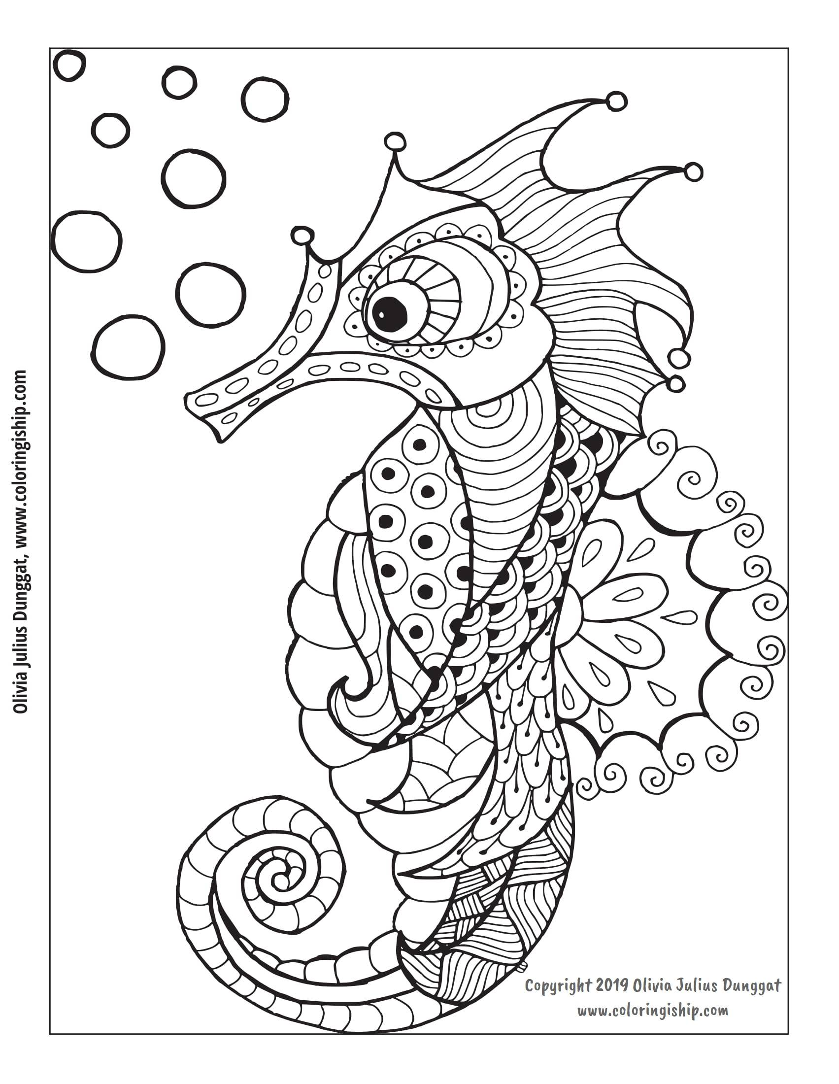 simple seahorse drawing