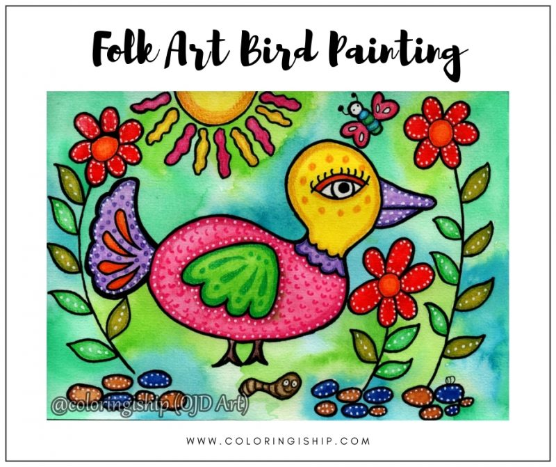 Folk Art Bird Painting