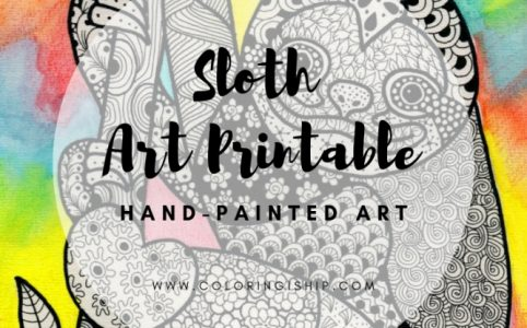 sloth art printable