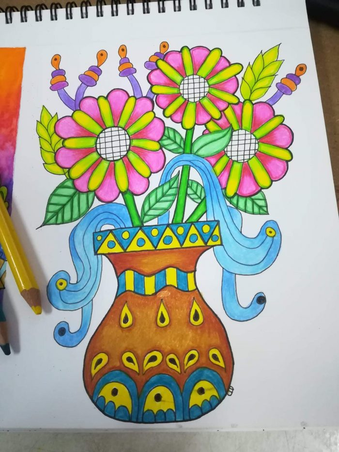 flowers in vase coloring page