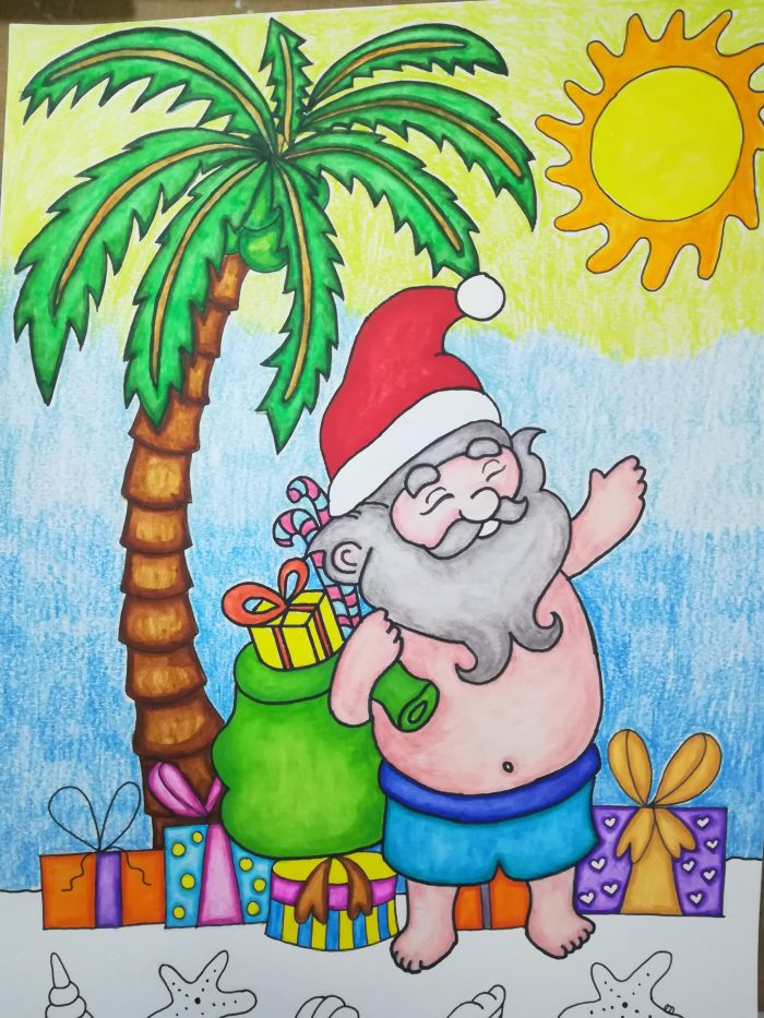 tropical christmas santa