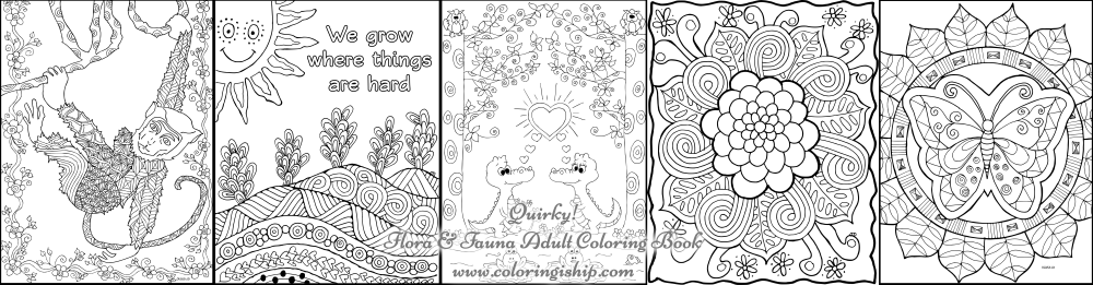 Quirky! Flora and Fauna Adult Coloring Book | Coloring Is Hip