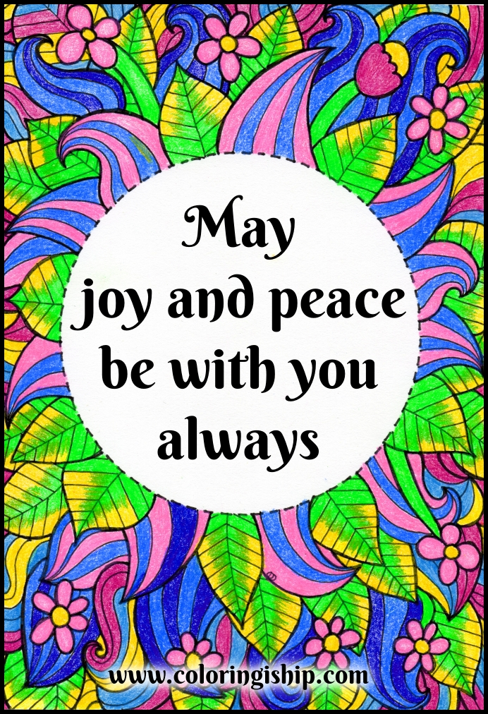 joy and peace coloring page