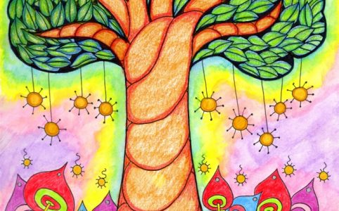 whimsical tree coloring page