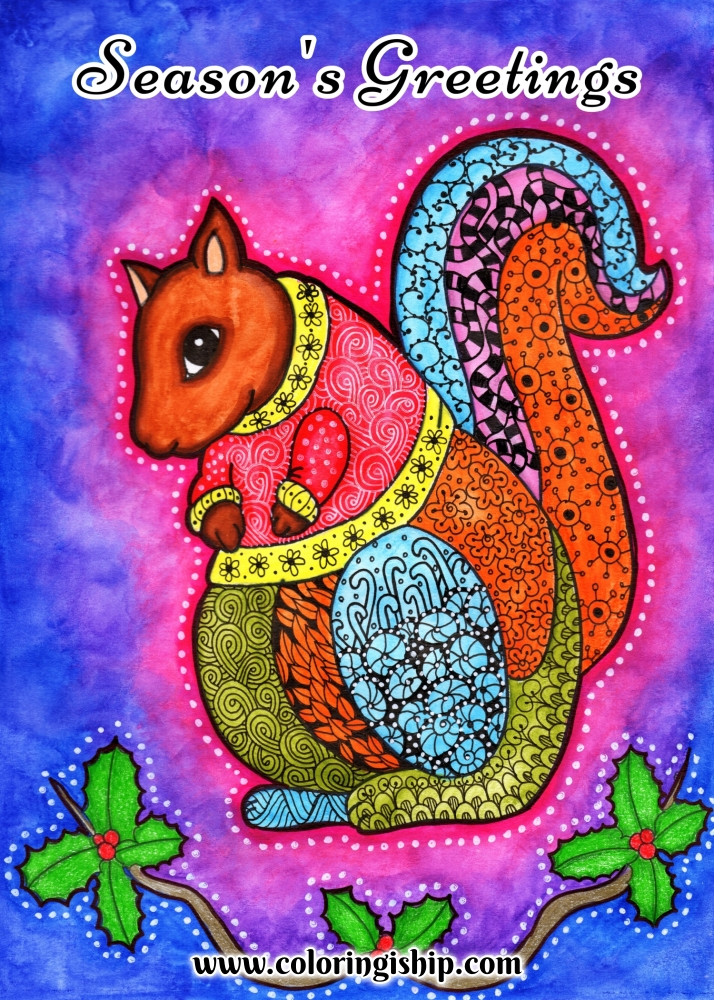 Christmas Squirrel Printable Art | Coloring Is Hip